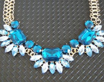 Bib necklace, Crystal necklace, statement necklace, Blue necklace, Short necklace, short necklace blue, modern necklace