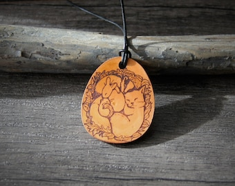 Sweet sleeping  babies animals forest - fox - bunny - squirrel- genuine leather pendant