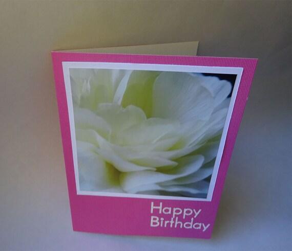 Birthday Card with Cream Ranunculus Flower - #1328