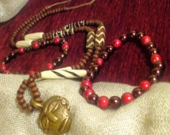 Tribal African Mask Necklace with Bracelets