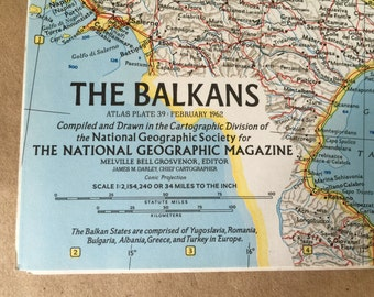 1962 National Geographic Map The Balkans. Vintage Map