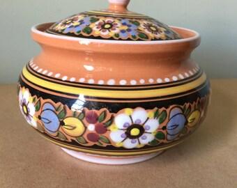 Floral Hand Painted Ceramic Covered Jar. Potpurri Pot