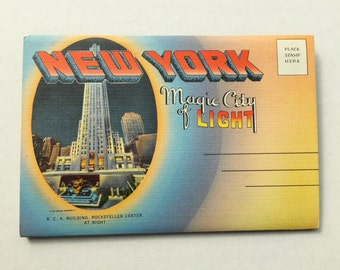 Vintage New York Magic City of Light MultiView Folding Postcard -1940s - Unused - Historic Views of New York City at Night - Illuminations