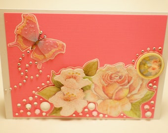 Handmade Pink Embellished Floral Butterfly Card