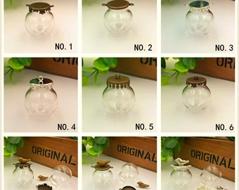 5set 25*15mm empty clear glass bottle glass globe dome cover with cap set, glass vial pendant charms , jewelry findings supply