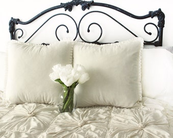 """Cream pillow covers, off white pillow covers, 20"""" off white ruffle pillow covers, cream pillows, off white pillows"""