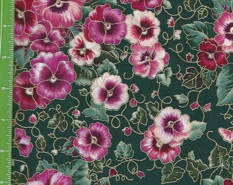 Pansies With Shades of red/pink,On Dark Green With Gold Lining.