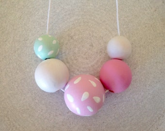 Pastel Wooden Bead Necklace