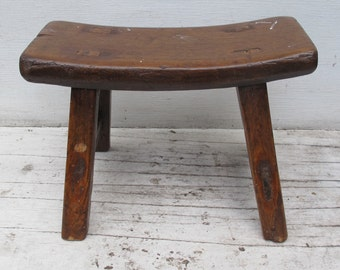 Vintage Curved Small Stool