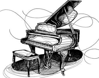 Digital Download Printable Baby Grand Piano Illustration
