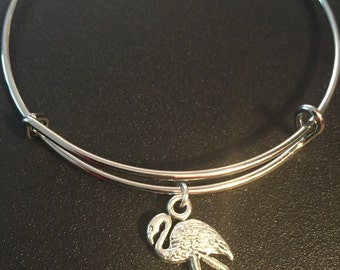 Adjustable bangle charm bracelet: ~The Falmingo~ Heavier charm