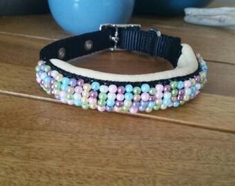 "Baby Hues Hand Beaded Collar - 10-12"""