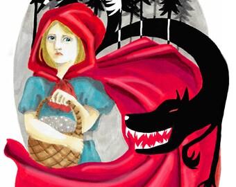 Art print - art print - Red Riding Hood / little Red Riding Hood A5 (fairytale / fairy tale)