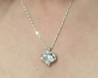 Heart shape pearl sterling silver necklace