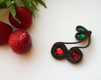Cherry brooch. Unique brooch. Zipper Cherry brooch. Handmade jewelry.Original zipper brooch. Handmade gift. Gift for her.