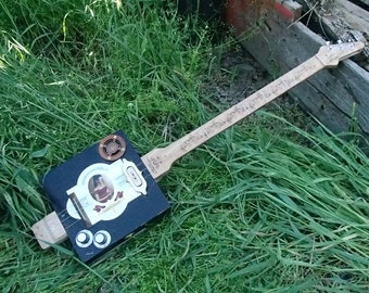 The Lady in The Red Dress Cigar Box Guitar (3 string model)