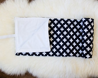 Roll Up Diaper Changing Pad - Black with White Plus Signs
