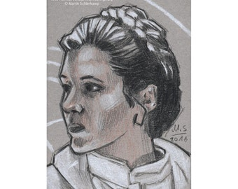 Star Wars Episode 5 Princess Leia - Sketch card - Original