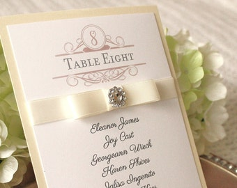 Wedding Place Cards with Ribbon and Jewel, Table Number and Favor Tags with Ribbon, Vintage Ivory Wedding Decor