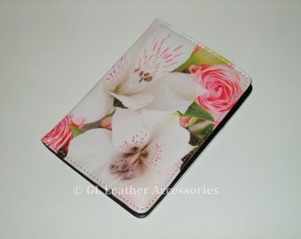 High Quality Faux Leather Passport Holder Case (Flowers)