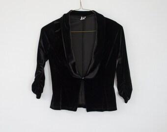 90's Vintage Black Velvet Blazer