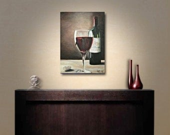 Oil painting, oil painting title: end of work / by Birgithell, wall art, wine,.