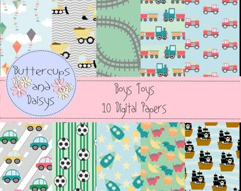 Boys Toys Digital Papers