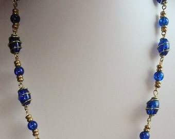 Blue glass wire wrapped beaded necklace 22.5 inches long