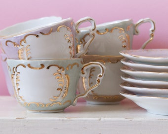 12-tlges vintage Cup service in pastel and gold