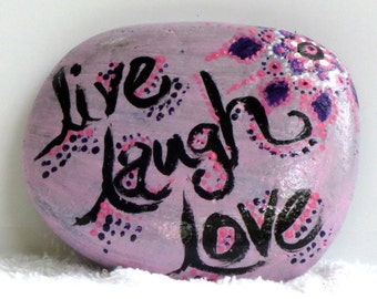 "Lavender ""live laugh love"" rock with mandala design"