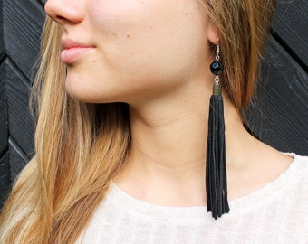 Black leather tassel earrings, tassel with glass pearl