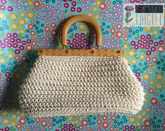 Vintage 1960s MAGID Italian Handbag - White Woven Purse with Wooden Top Handle