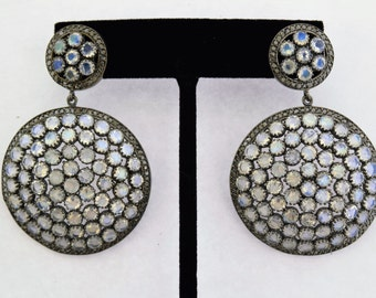 Pave Diamonds and Rainbow in sterling silver Earrings