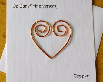 7th Anniversary Card Copper 7 Wedding Traditional Handmade Gift