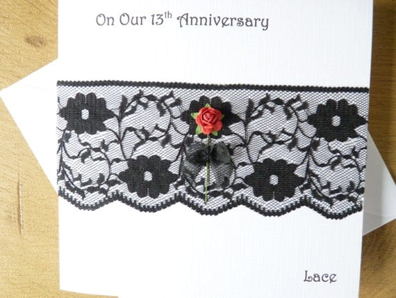 13th Year Wedding Anniversary Gifts: 13th Anniversary Card Lace Wedding Anniversary 13 Years