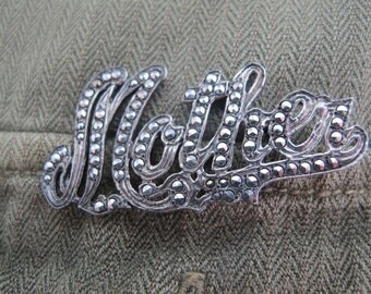 MOTHER Rhinestone Pin Vintage Sterling Silver