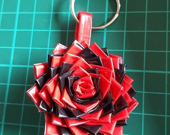 Small Black and Red Duck Tape Rose Key Ring