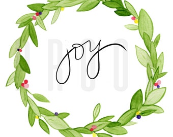 Handwritten | Joy | Watercolor | Floral Wreath | Instant Downloand