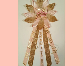 Pink and Gold  Baby Shower Corsage, Mommy To be Corsage,Pink and Gold