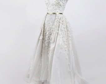 Handmade Designer Wedding Gown in Ivory, Haute Couture, handmade embroidery dress