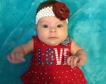 Baby Headband; Knit Headband; White Band With Red Fabric Flower