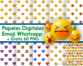 Digital papers Emoji Whatsapp + 60 free Clipart