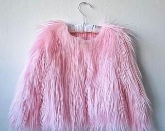 Fur coat in pink