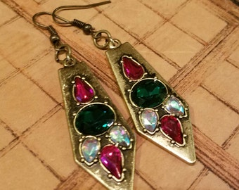 Pink and green gem earrings