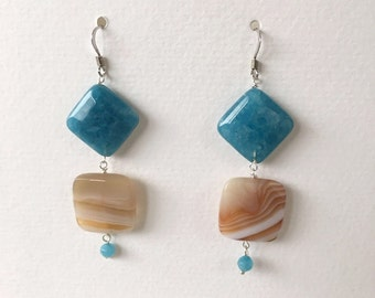 angelite botzwana agate earrings