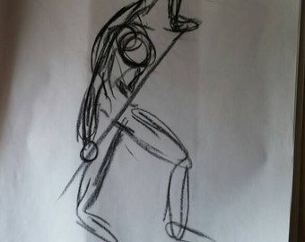 Gesture Drawing from Life model. 18x24 on newsprint