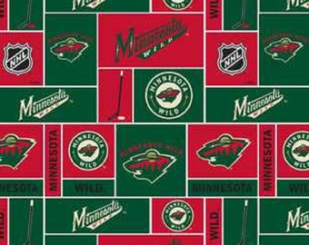 NHL MINNESOTA WILD Hockey 100% cotton fabric material You Choose Length liscensed for Crafts, Quilts, clothing and Home Decor