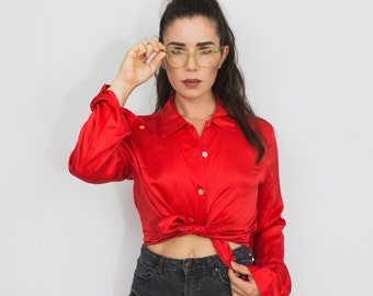 Vintage Fiery Red Silk Button Up Top Shirt, Size Small