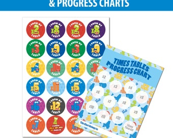 96 30mm TIMES TABLE Reward Stickers & 4 Reward Charts, Children and Teachers