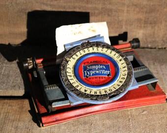 Vintage Simplex 100 daisywheel childs typewriter for restoration or display 1930